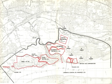 Map showing land allocation. The square UR Ltd. area is from 1965 suggesting the area below is from the 1971-3 application.
