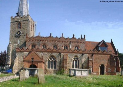 St. Mary's Church, Great Baddow, where Jack Straw gathered Essx's rebels in the churchyard before he led them to London. Note the church was heavily restored over 100 years go since its contemporary incarnation at the time of the revolts.
