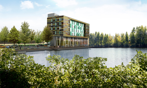 An artist's rendering of the lake hotel