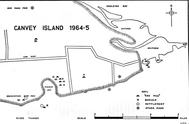 A 1960s map showing the red hill sites across east Canvey