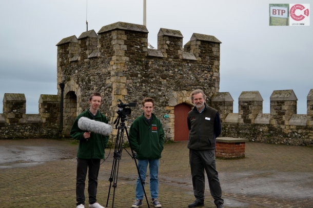 BTP Joe and Liam at English Heritages' Dover Castle; filming a documentary with a member of staff.