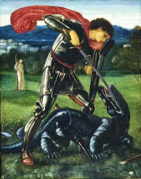 An 1868 painting by Edward Coley Burne-Jones. The 'dragon' appears more like a crocodile or monitor-lizard without wings and having an armored plate-like skin.