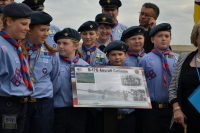 Scouts with the plaque