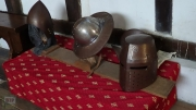Medieval helmets of knights and infantrymen respectivley